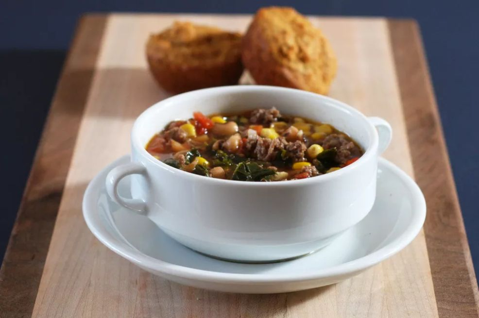 Hamburger Soup With Black-Eyed Peas and Kale