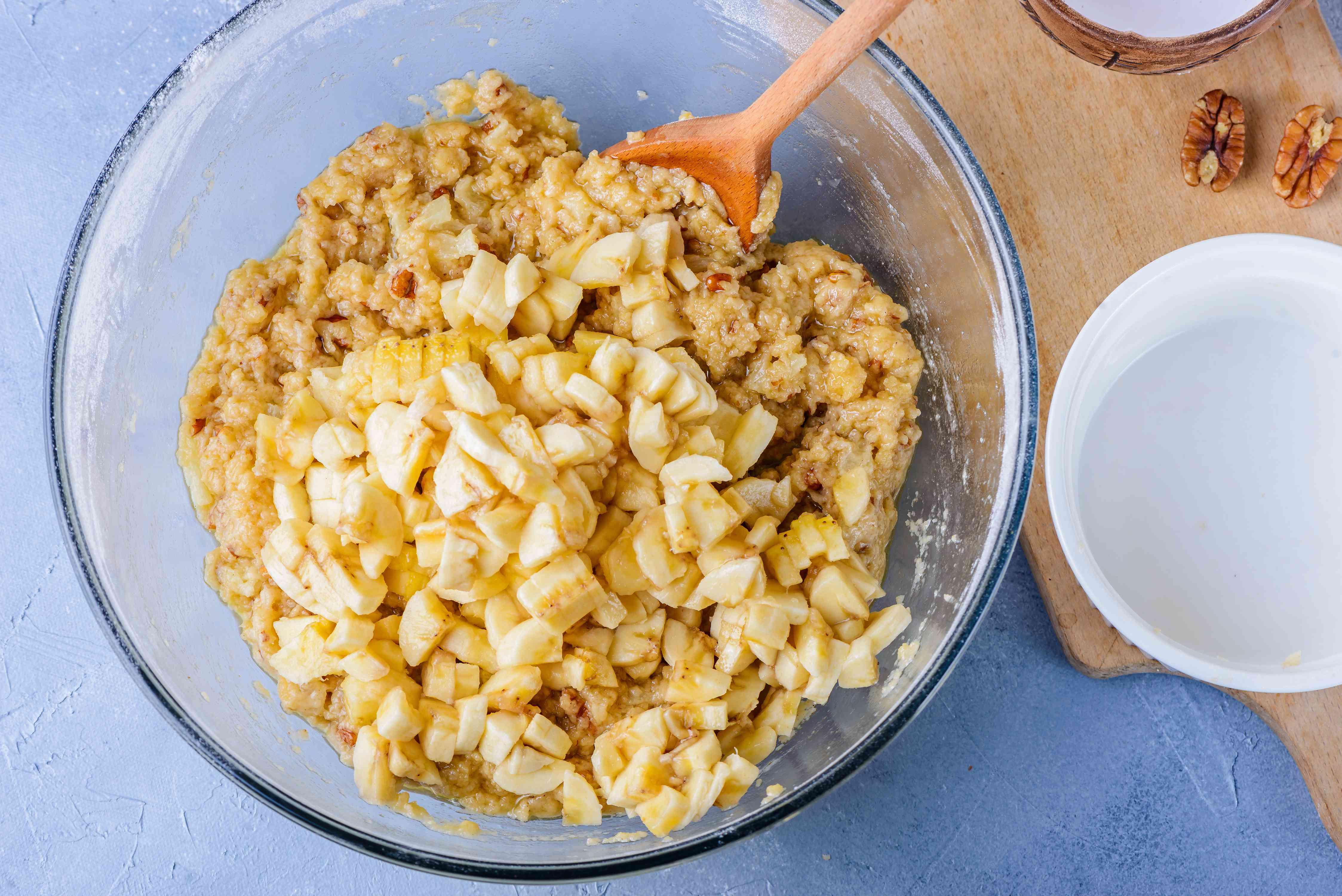 Stir in chopped bananas