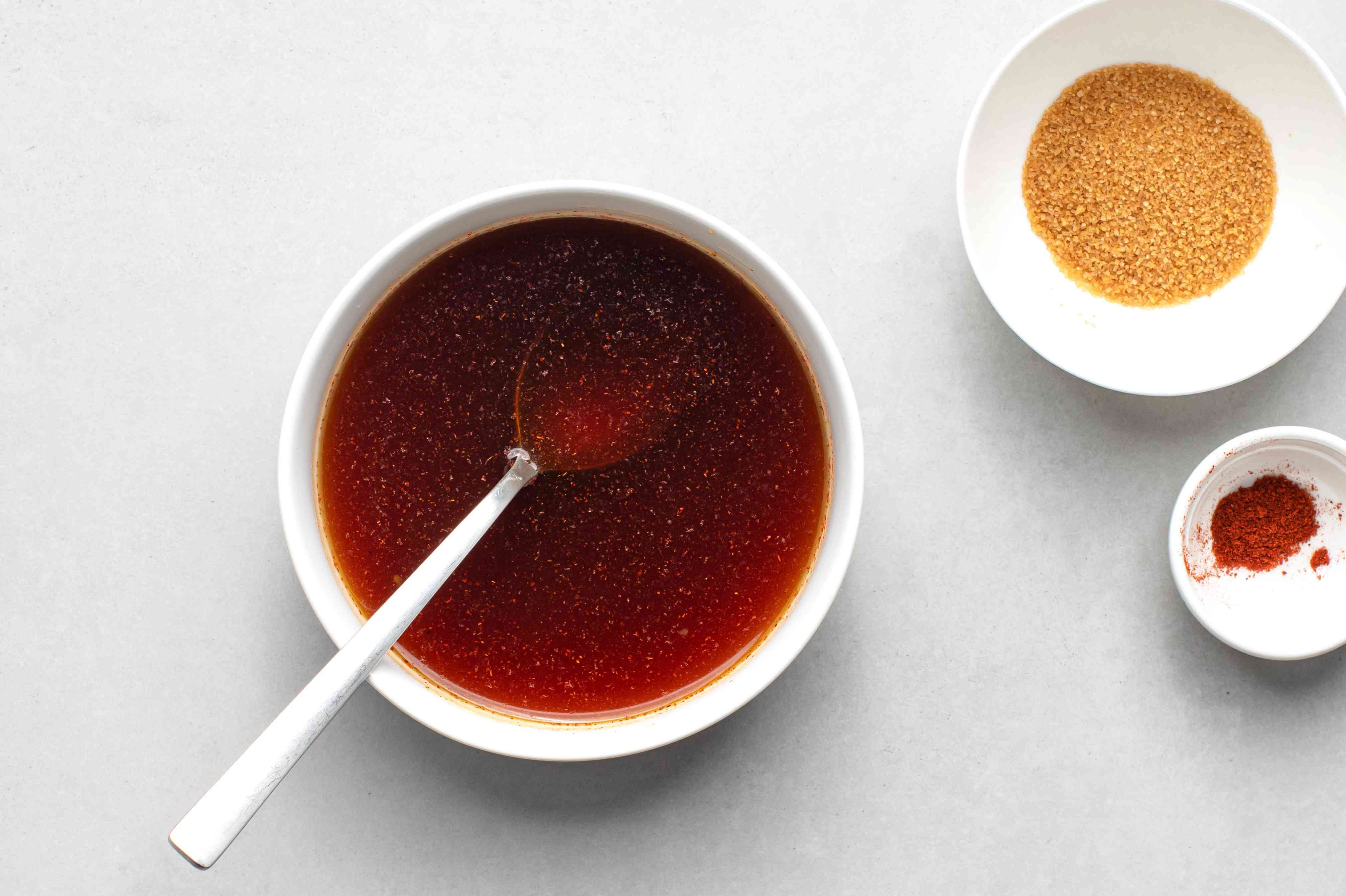 brown sugar, cayenne pepper, and the rest of the sauce ingredients in a bowl