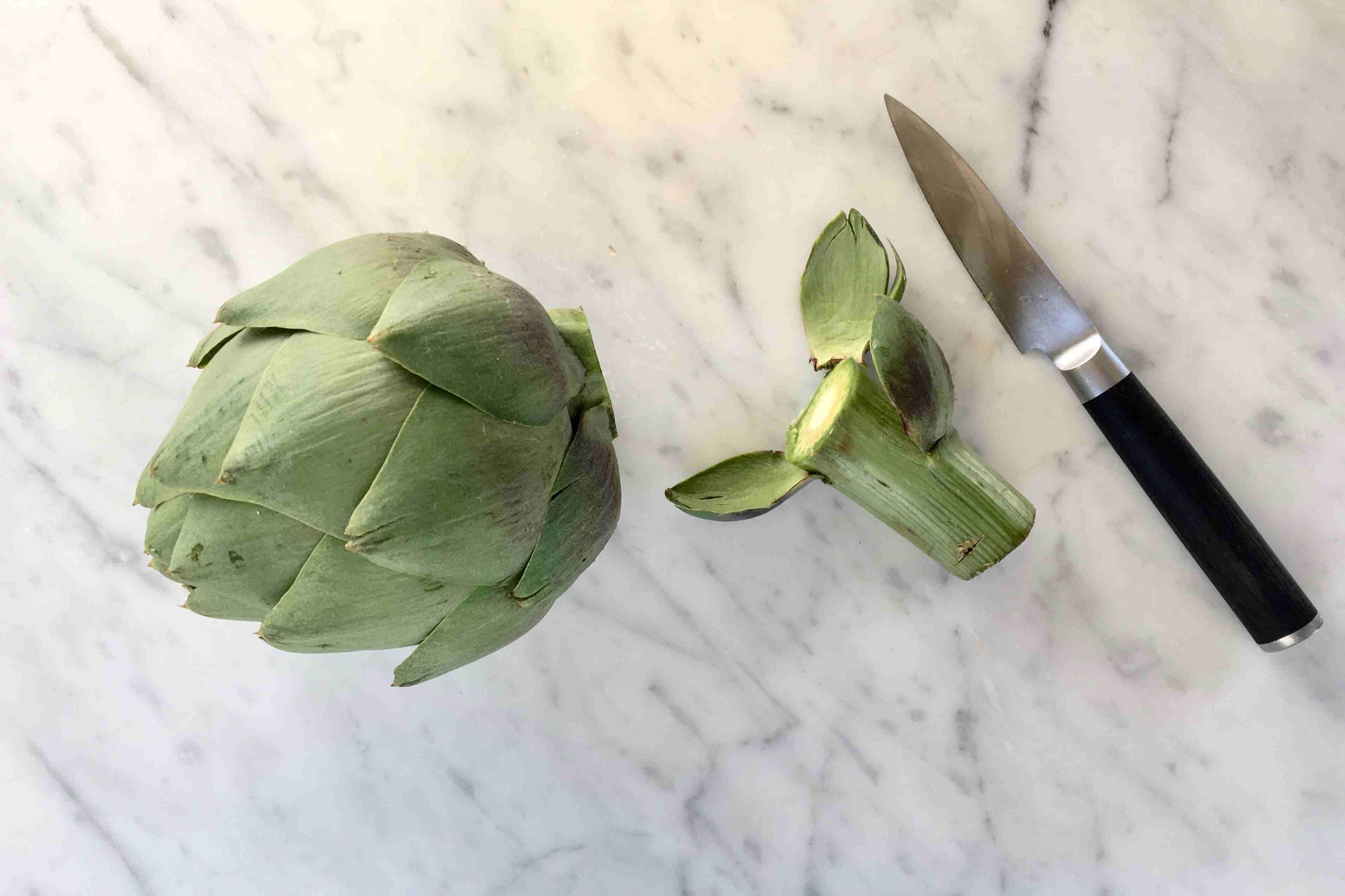 Cut Stem From Artichoke