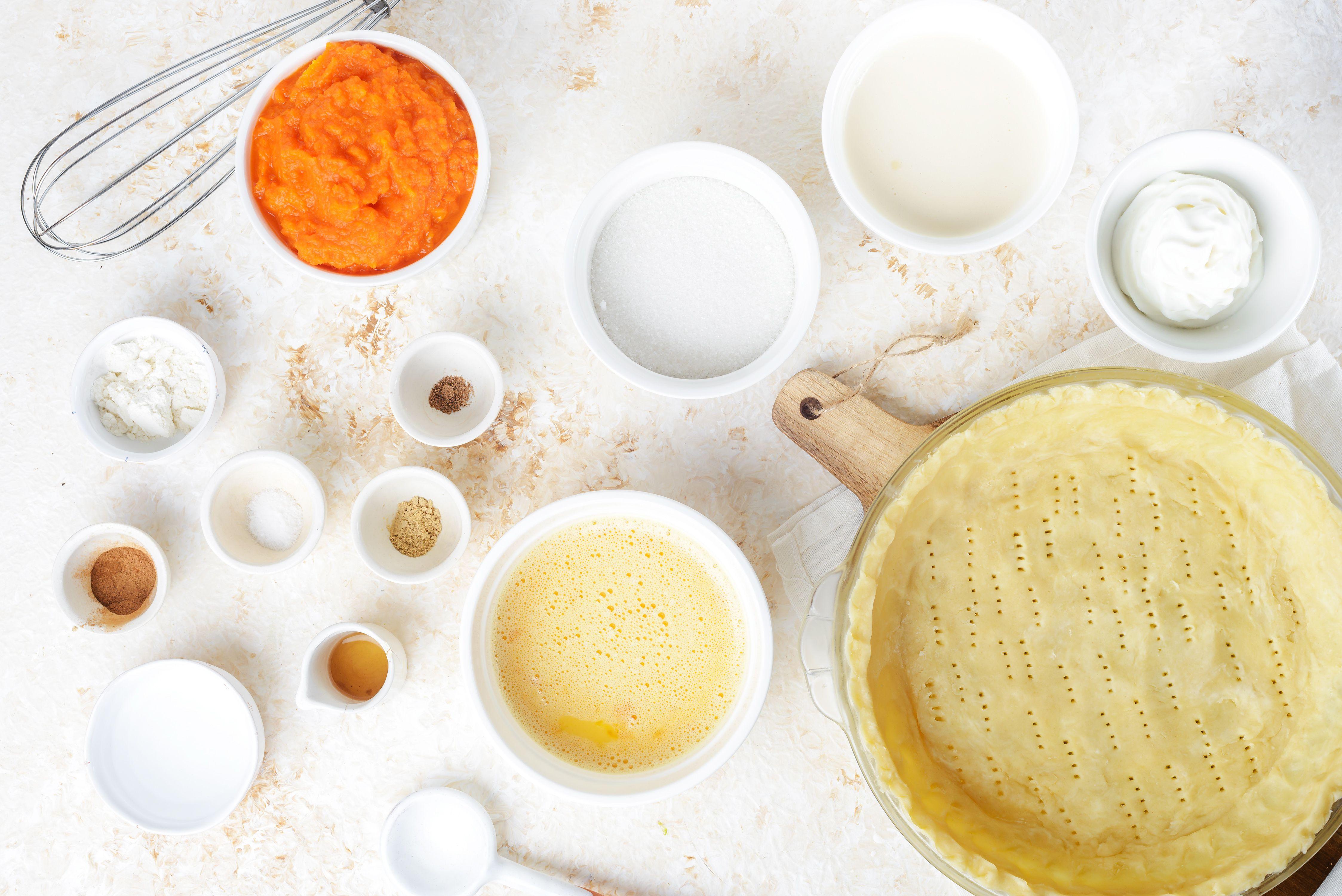 Ingredients for autumn pumpkin pie