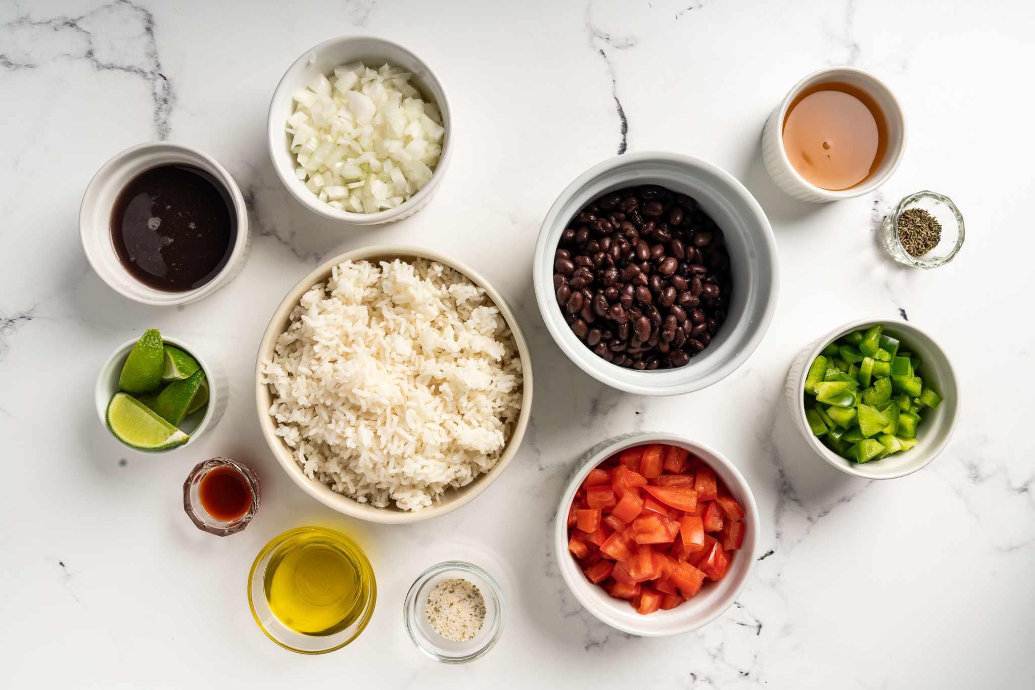 Basic Vegetarian Black Beans and Rice ingredients
