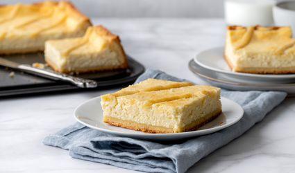 Sernik Polish cheesecake in a plate with a napkin