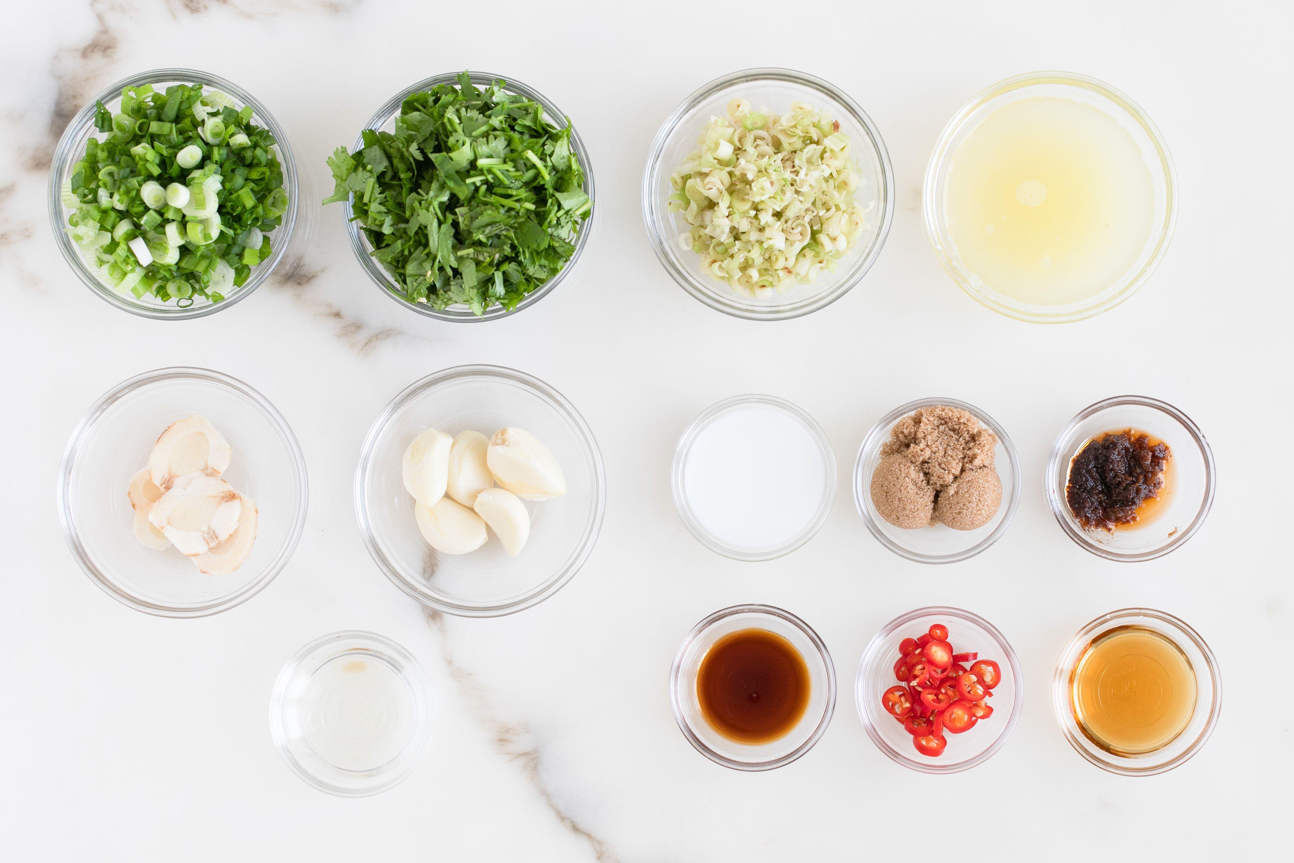 Ingredients for tom yum paste