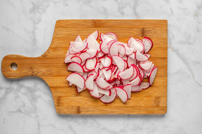 radish slices on a cutting board
