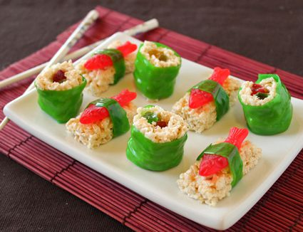 A plate of candy sushi