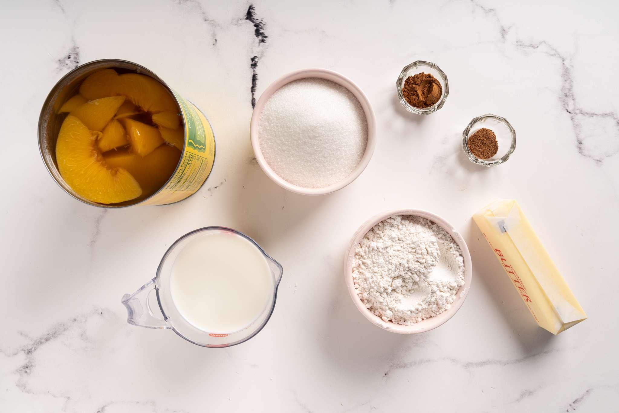 Everyone's Favorite Shortcut Peach Cobbler ingredients