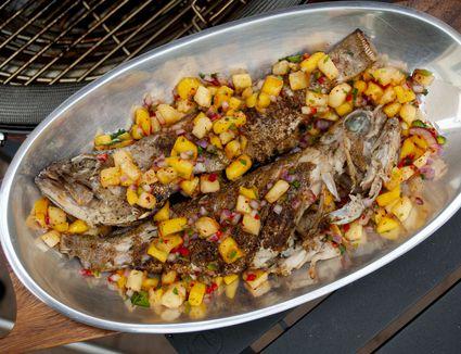 grilled whole grouper lapu lapu with mango and pineapple salsa