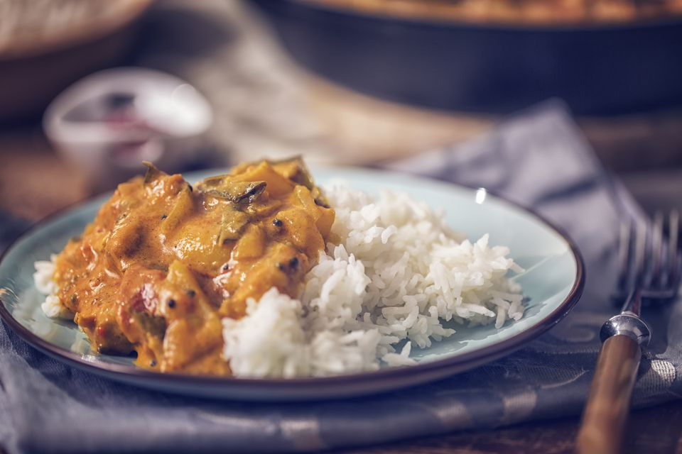 Delicious homemade chicken curry dish with rice