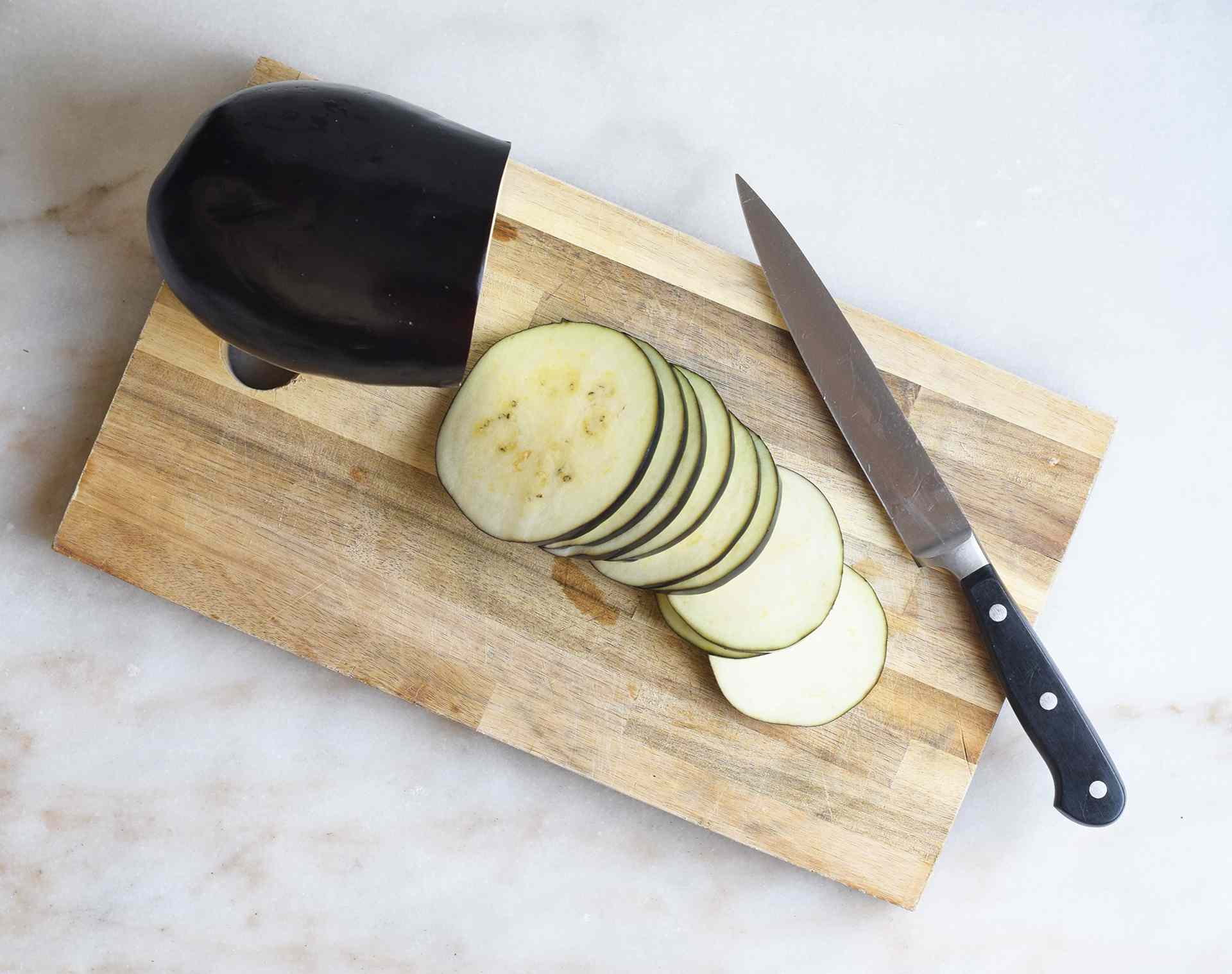 eggplant cut into thin rounds