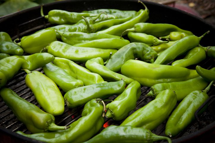 Hatch chili peppers on grill