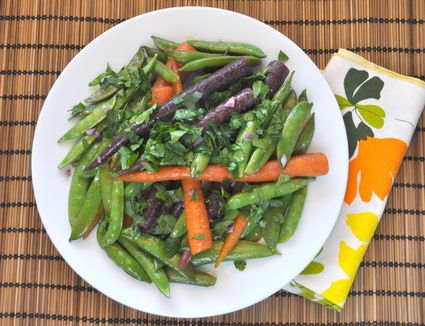 Braised snap peas and carrots