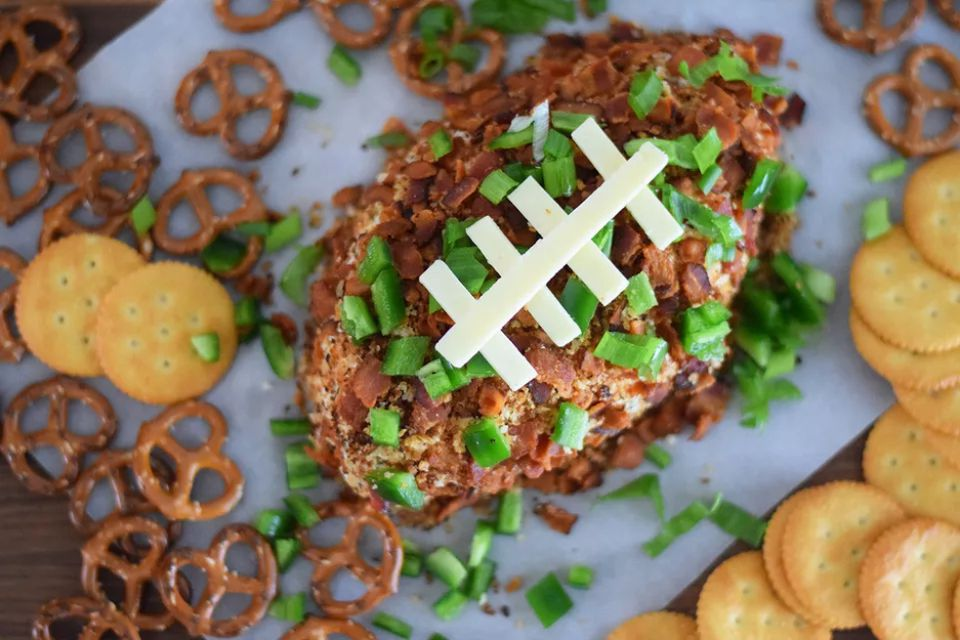 Jalapeno-Cheddar Football Cheese Ball recipe