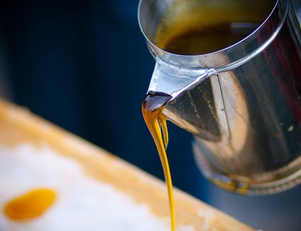 maple syrup being poured