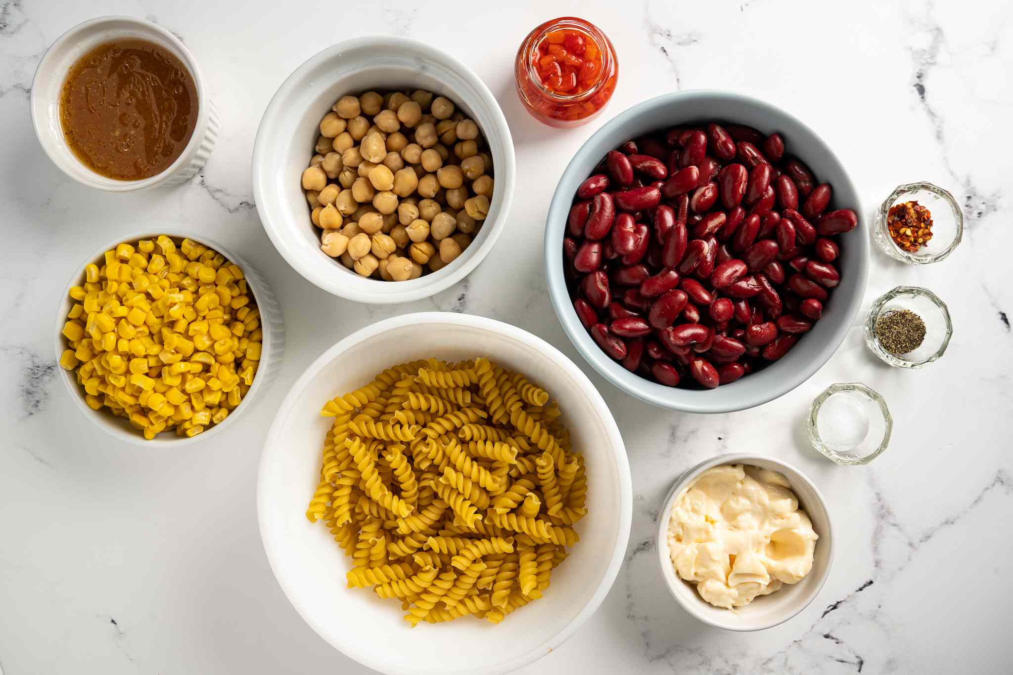 Quick and Easy Pasta and Bean Salad ingredients