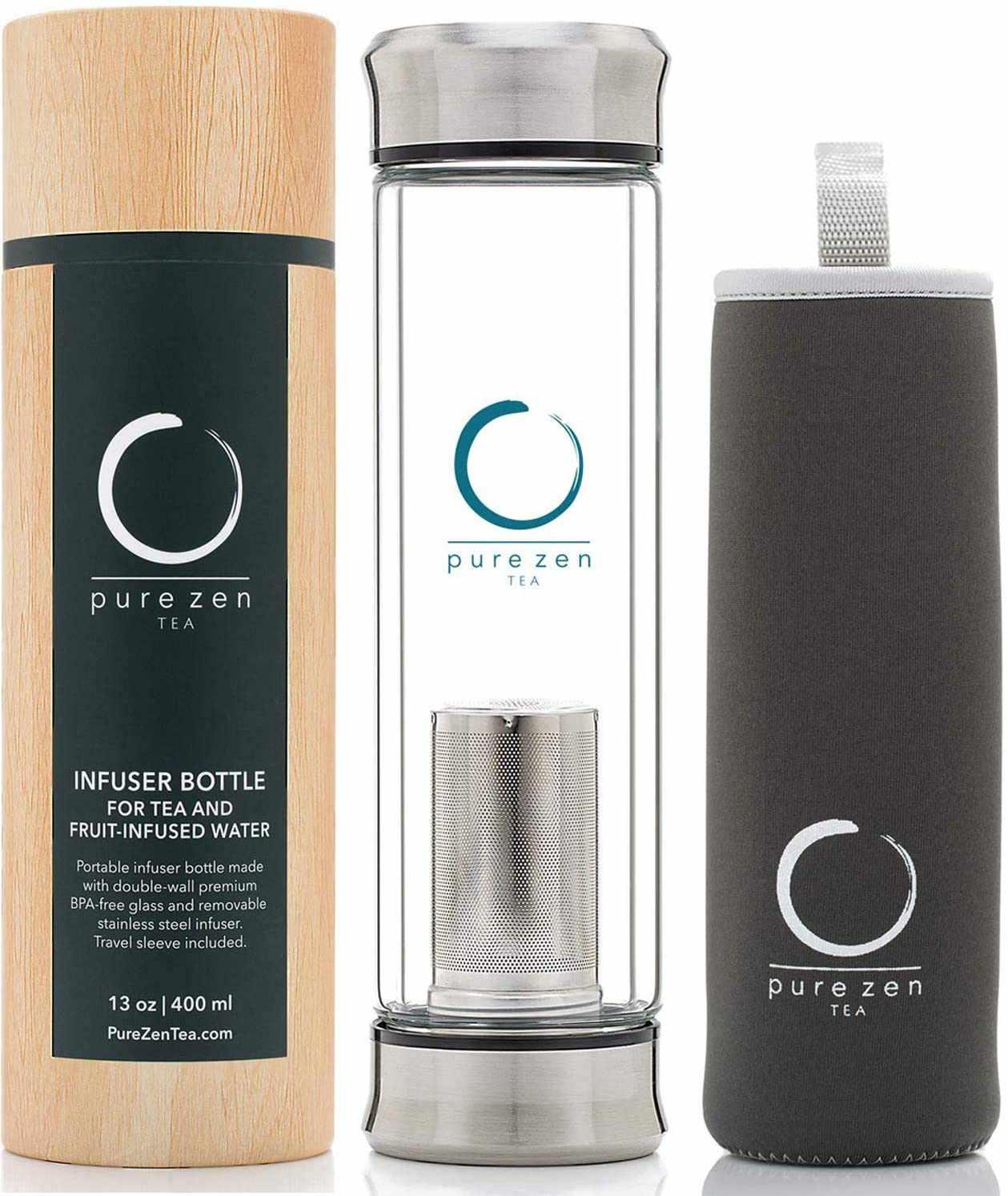 Pure Zen Tea Glass Bottle with Infuser