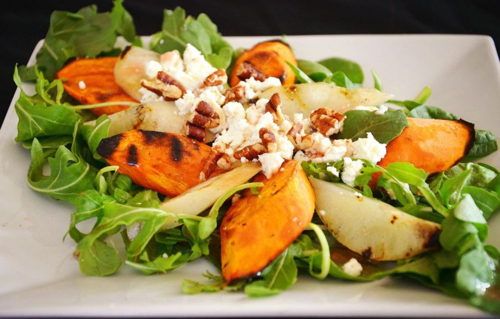 Grilled Pear and Sweet Potato Salad With Arugula and Spinach