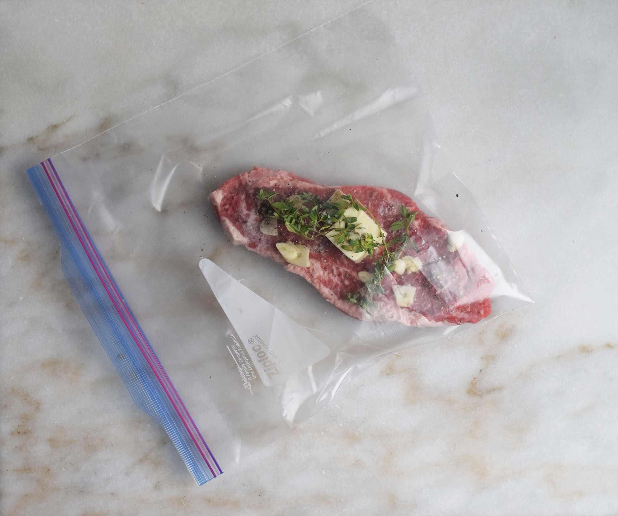 Steak in a bag with seasonings