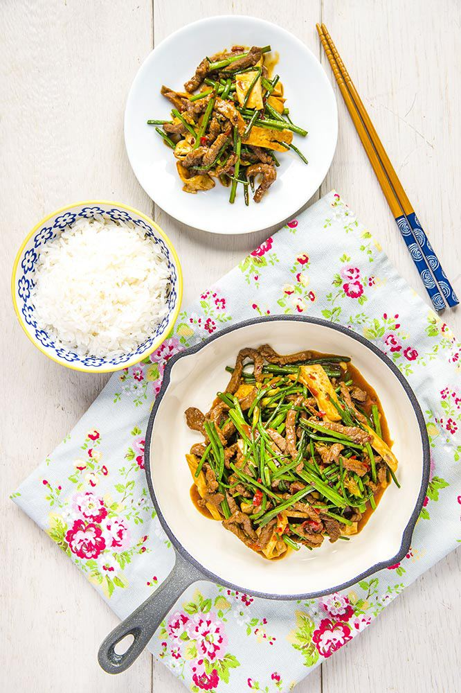 Stir-Fry Beef With Flowering Chive And Bean Curd Recipe