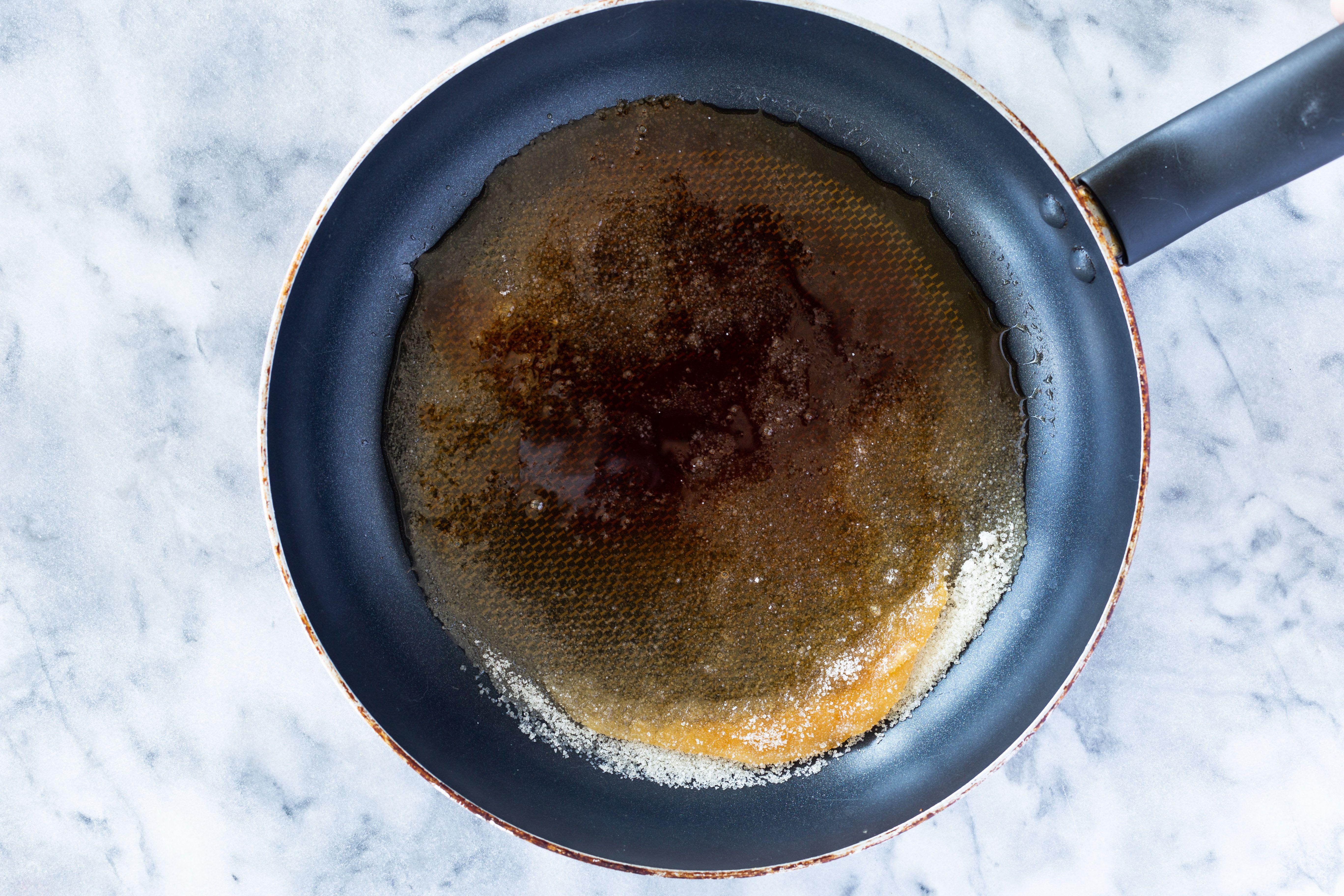 Sugar caramelizing in a pan