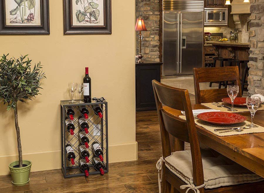Mango Steam 23-Bottle Wine Rack with Glass Table Top, Pewter