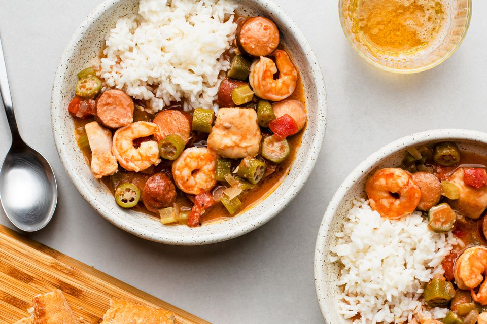 Crock Pot Chicken, Sausage, and Shrimp Gumbo