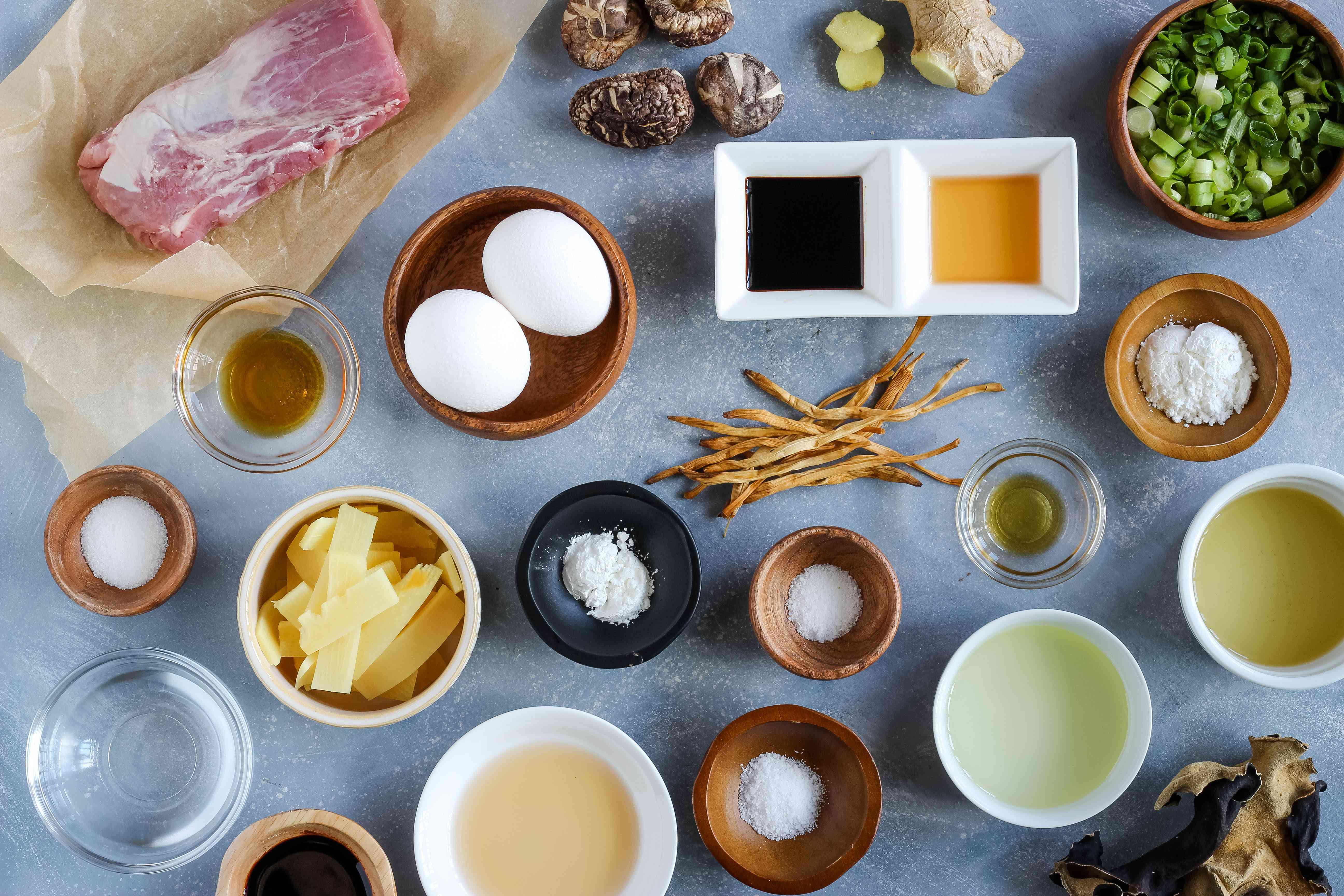 Ingredients for mu shu pork