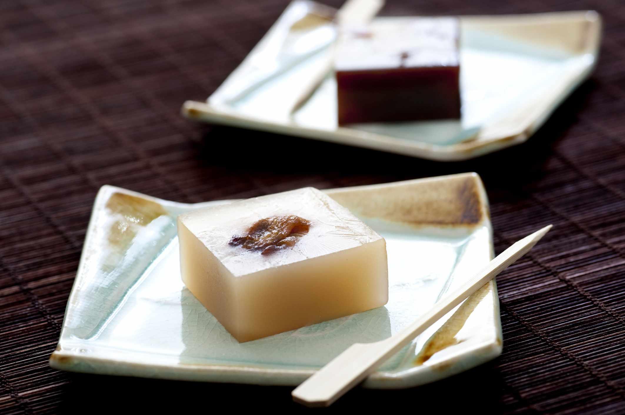 Yokan, a thick jellied dessert