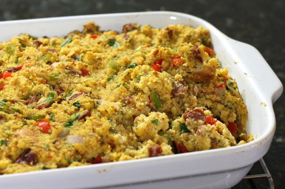 Cornbread dressing with andouille sausage