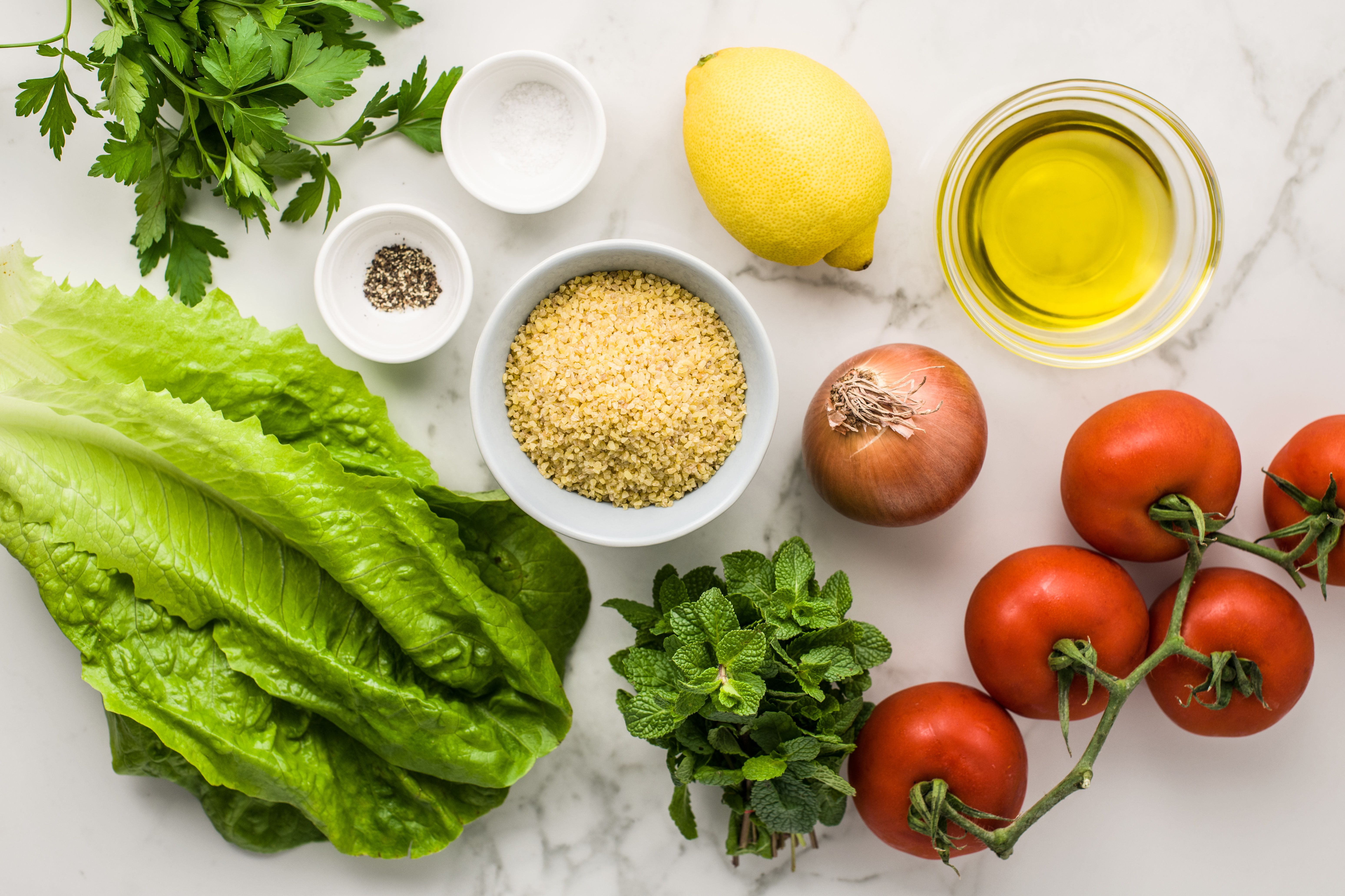 Ingredients for tabouleh wheat salad