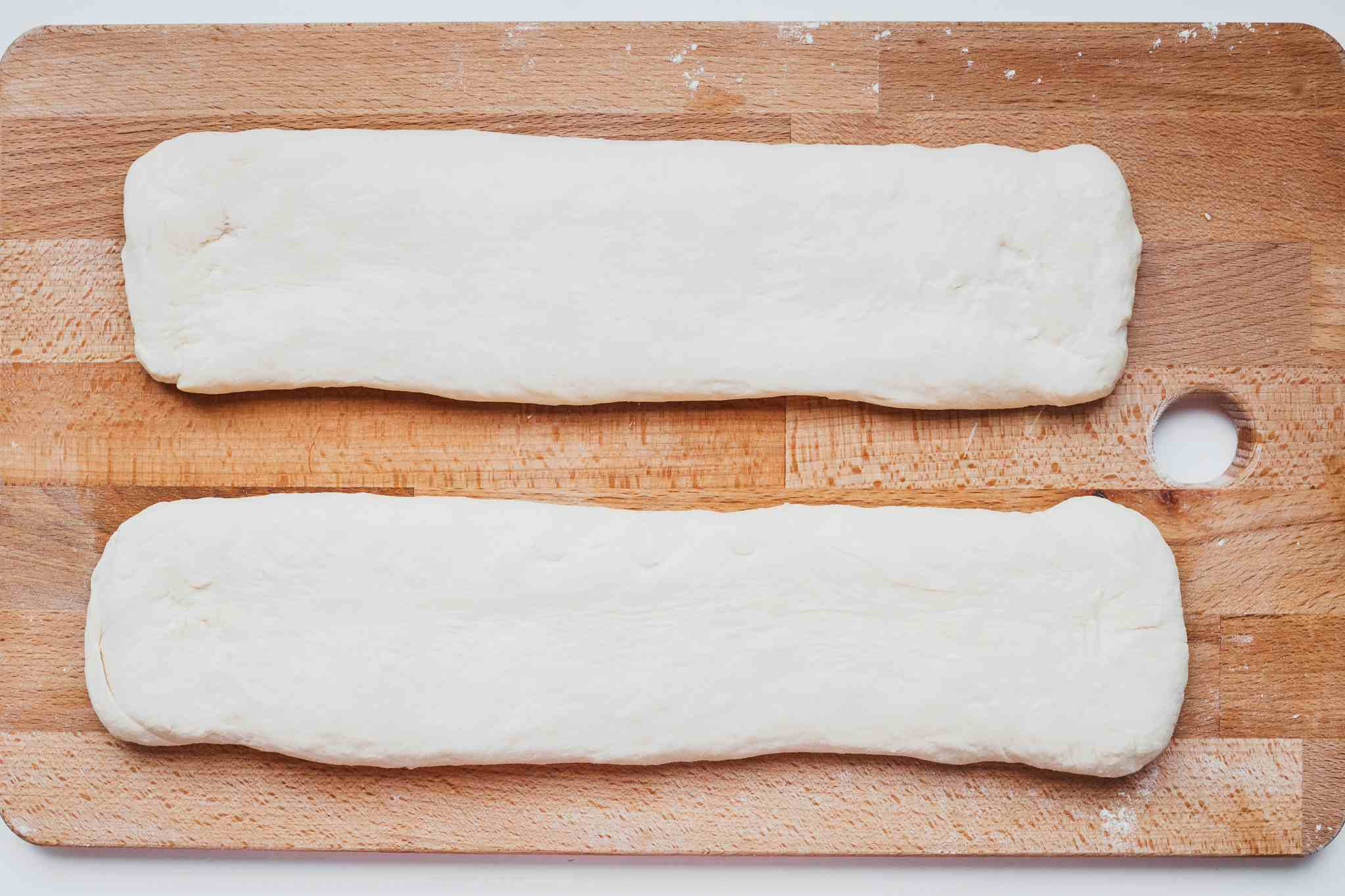 Two rectangles of dough