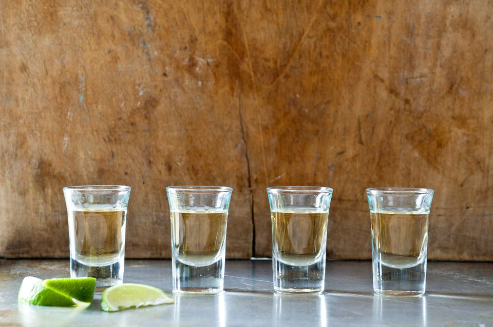 Row of tequila shots