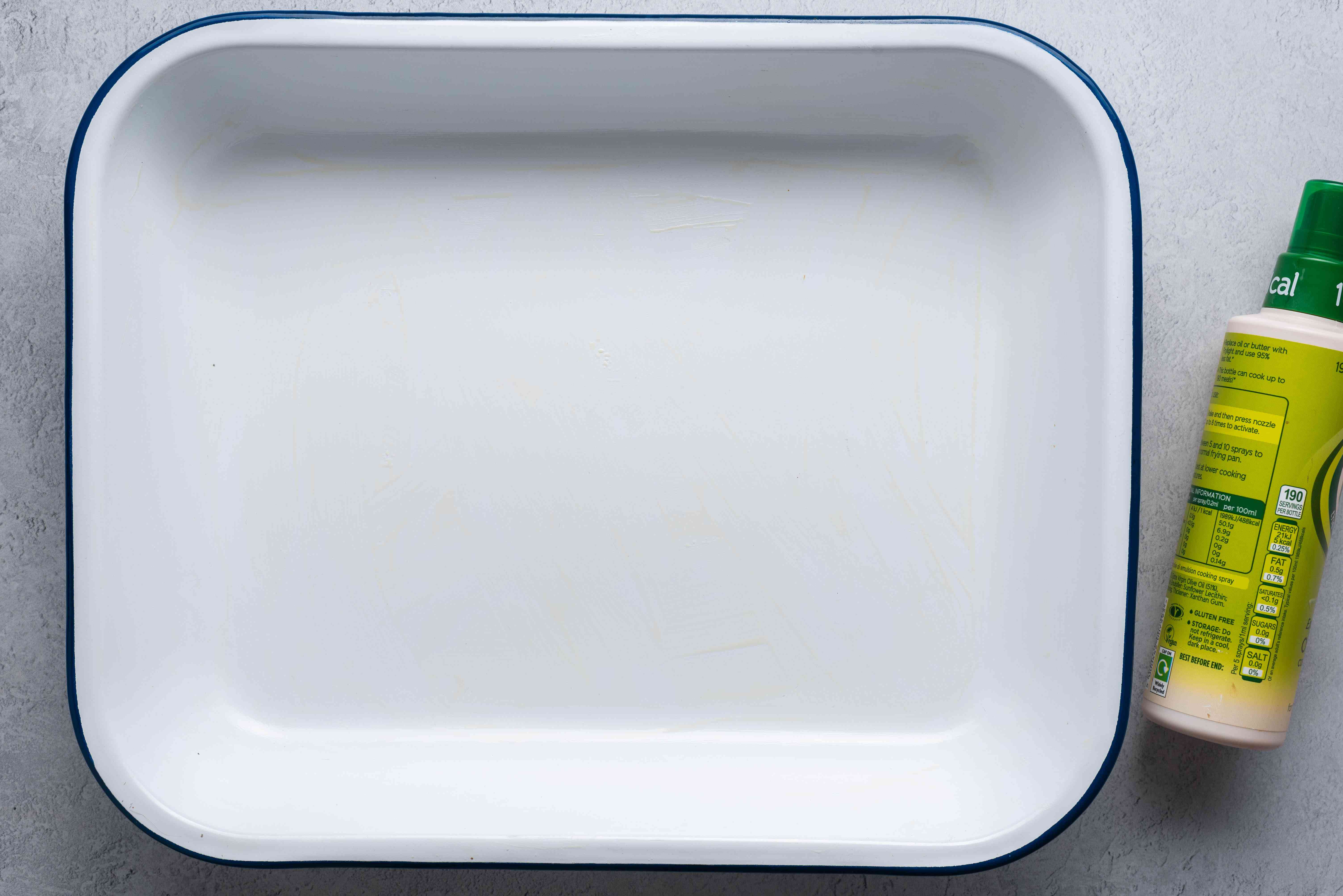 Coat a shallow baking dish with cooking spray