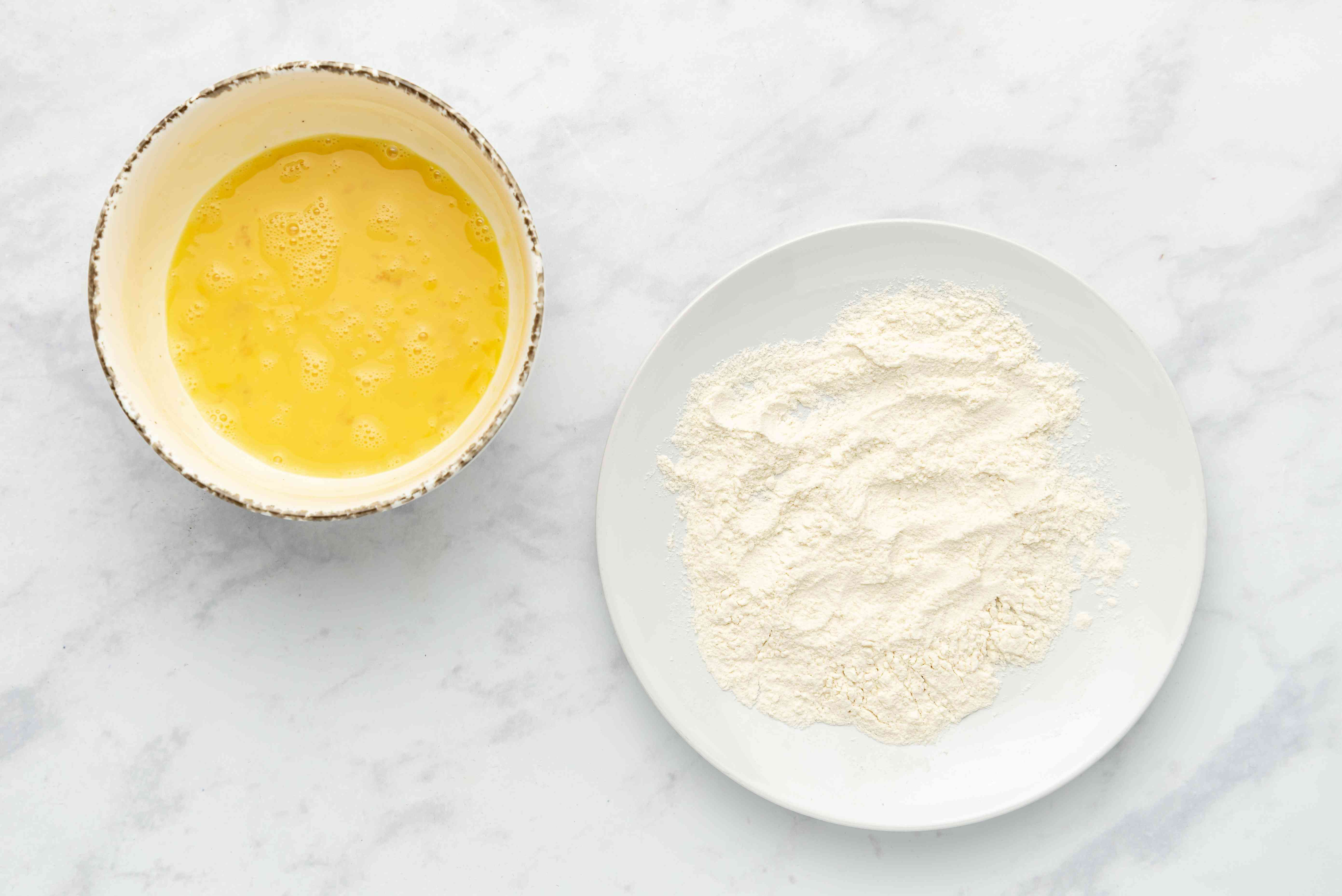 egg mixture in a bowl, flour mixture in a bowl