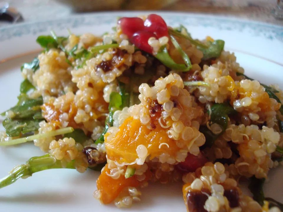 Quinoa Salad With Arugula, Butternut Squash and Citrus Vinaigrette