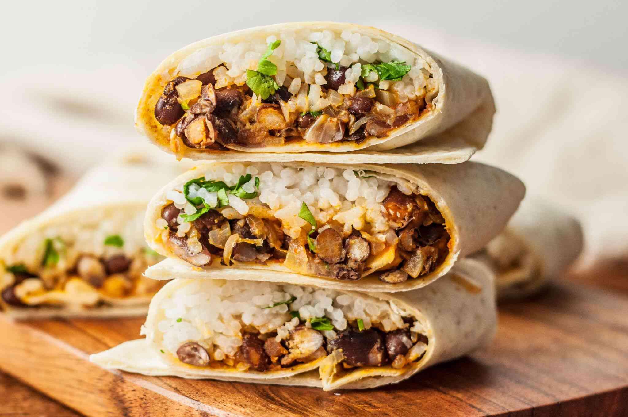 vegetarian bean and rice burrito recipe