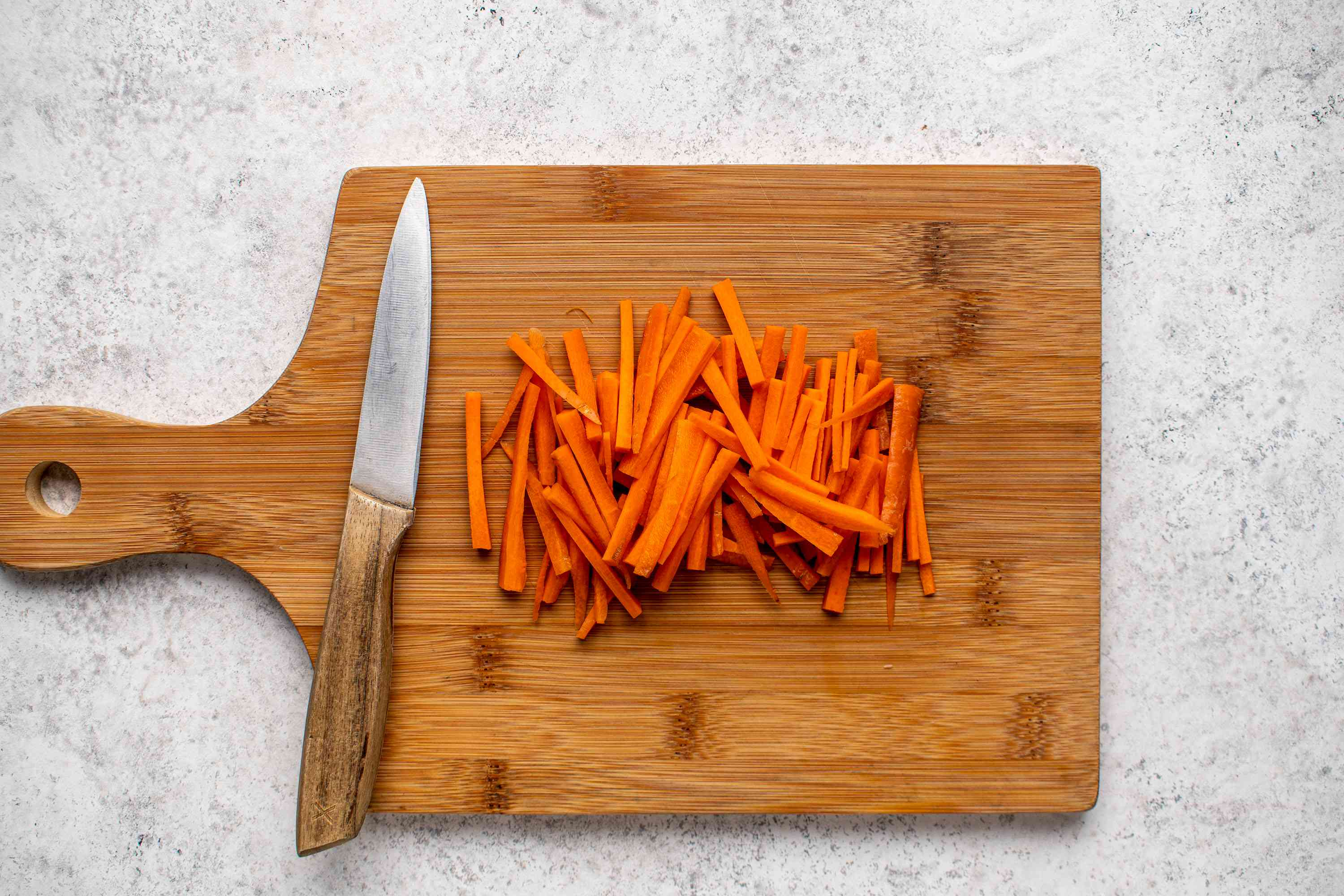 carrots cut into strips
