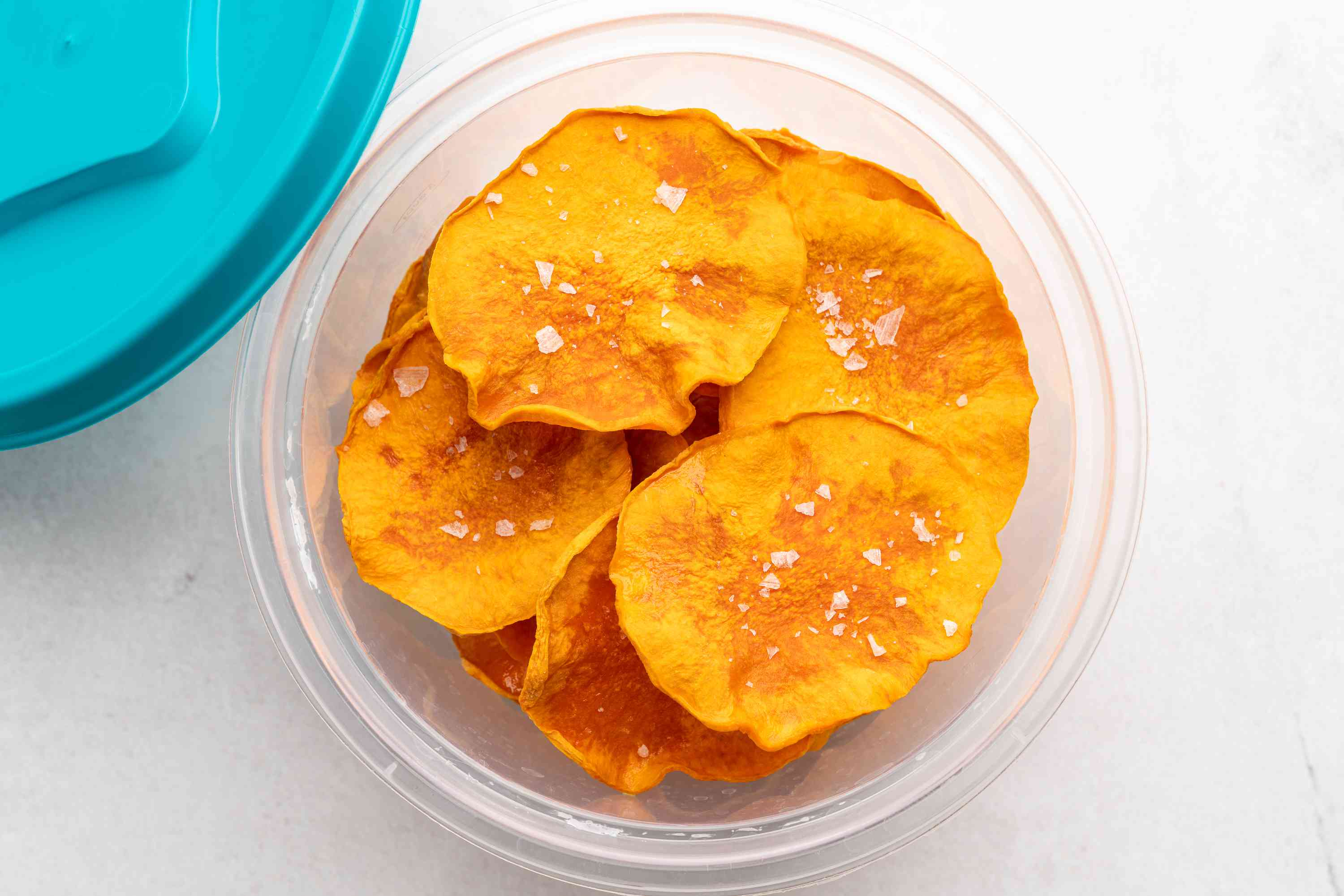Butternut Squash Chips - Dehydrator Method in a container