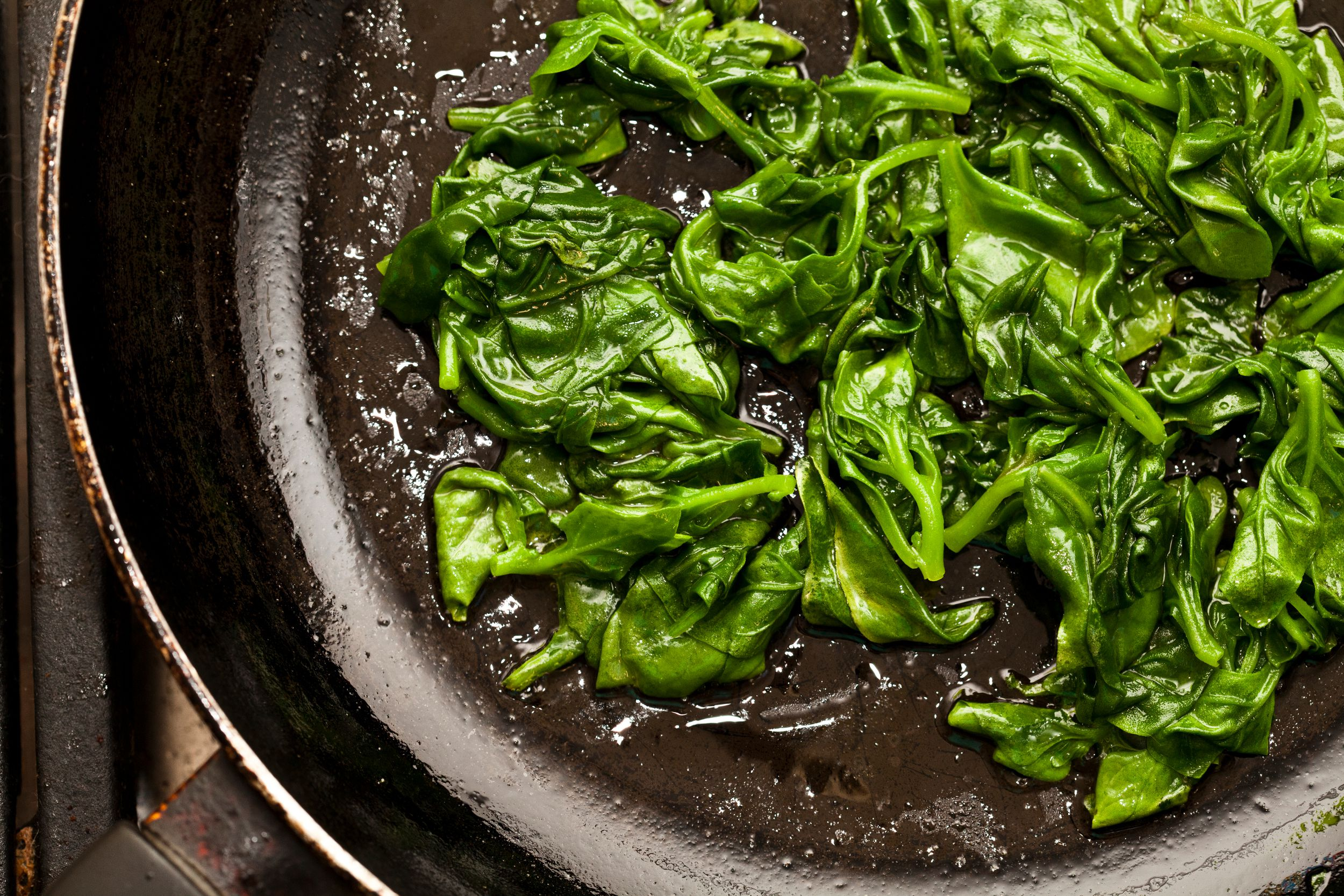 Greens sauteed in bacon fat
