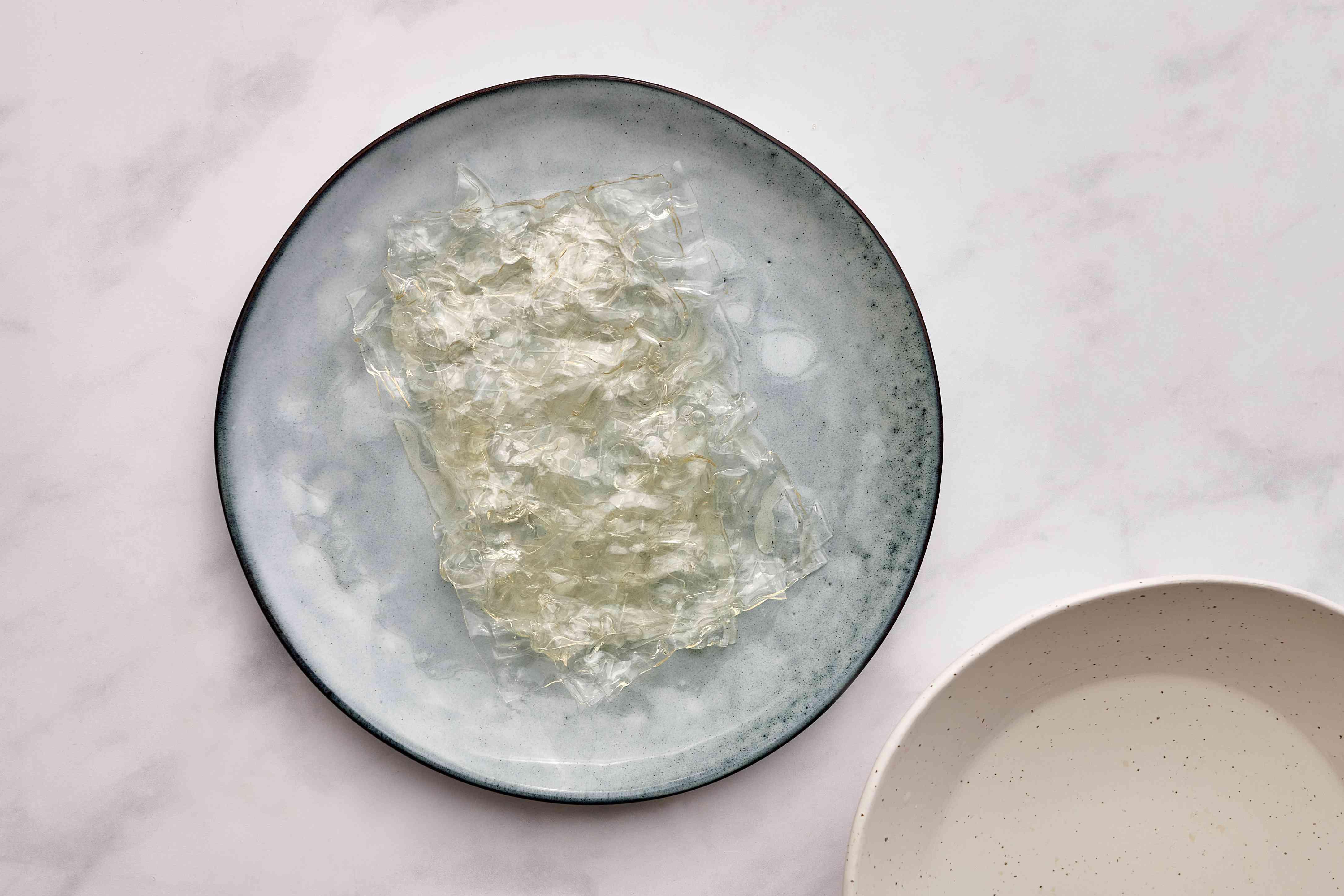 leaf gelatin on a plate