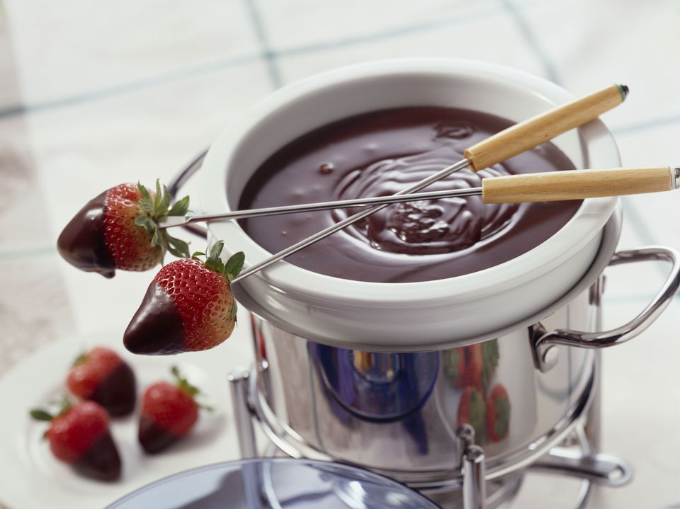 Chocolate fondue with strawberries