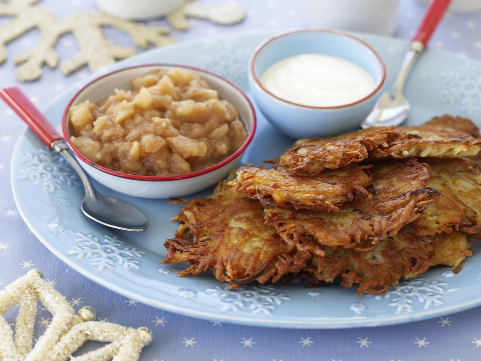 Potato latkes with applesauce and sour cream