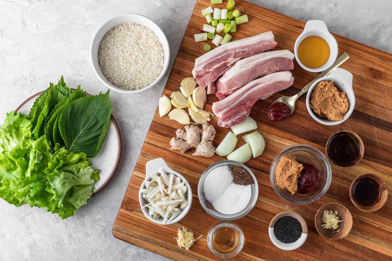 Korean Pork Belly (Bossam) ingredients