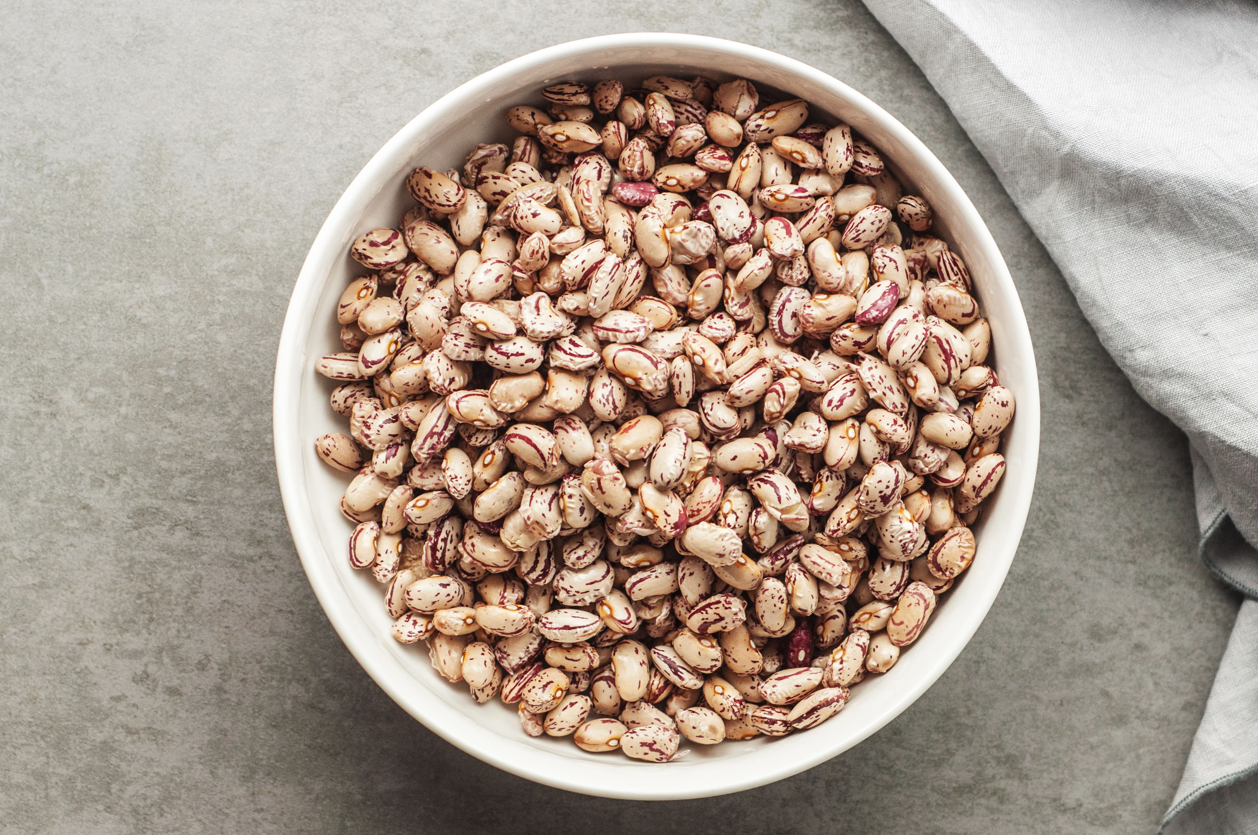 Rinsed, drained beans in a bowl