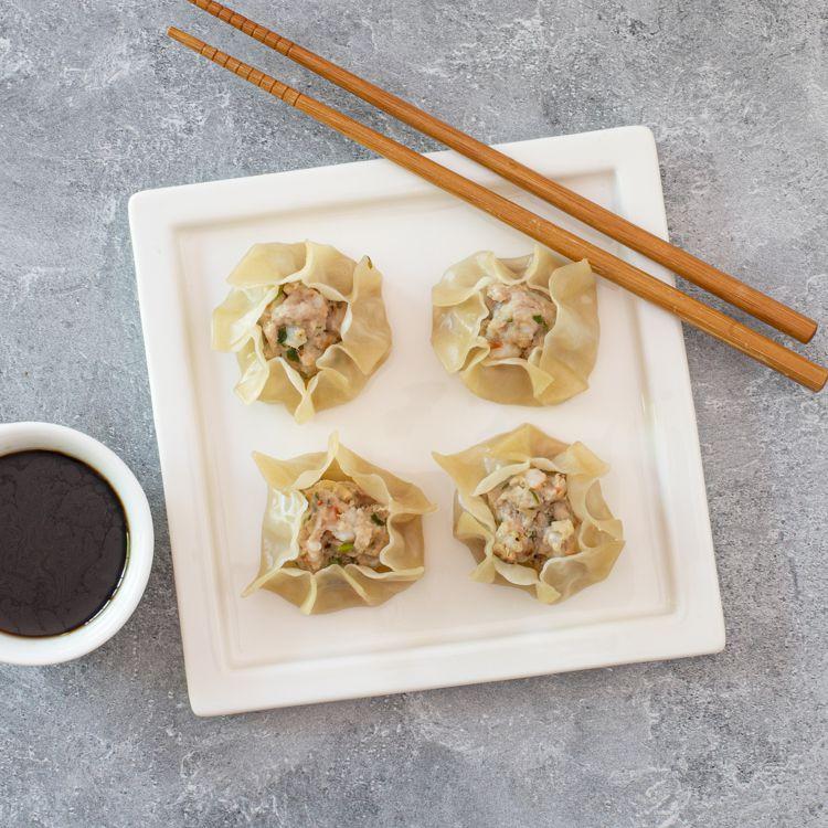 siu mai dumplings with dumpling dip