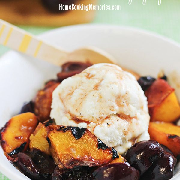 Grilled Peaches and Cherries with Cinnamon-Honey Syrup