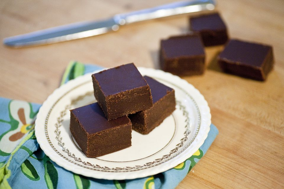 A small plate of organic homemade chocolate fudge sits on a counter top in a home in Seattle, Washington.