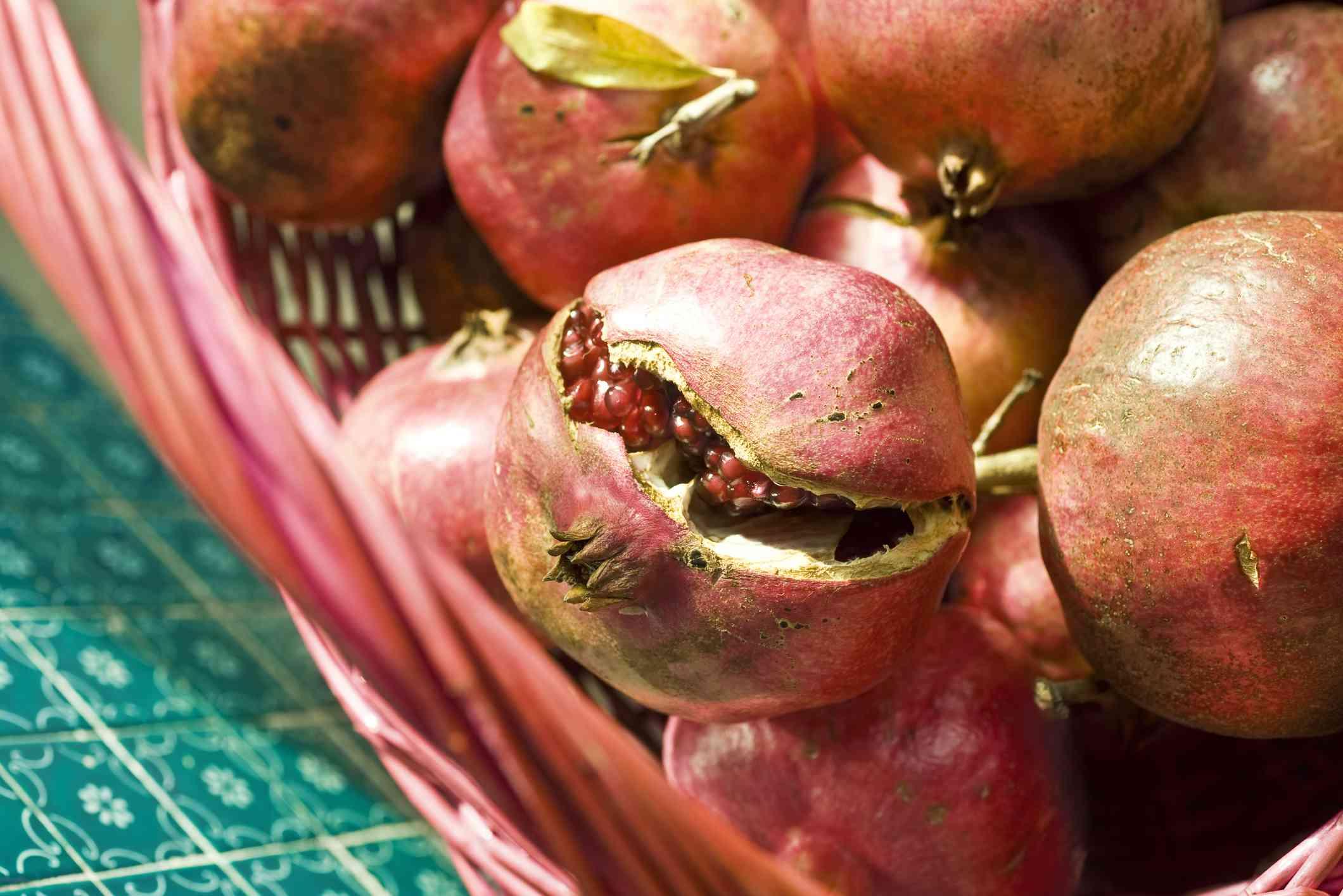 Basket of Ripe Pomegranates
