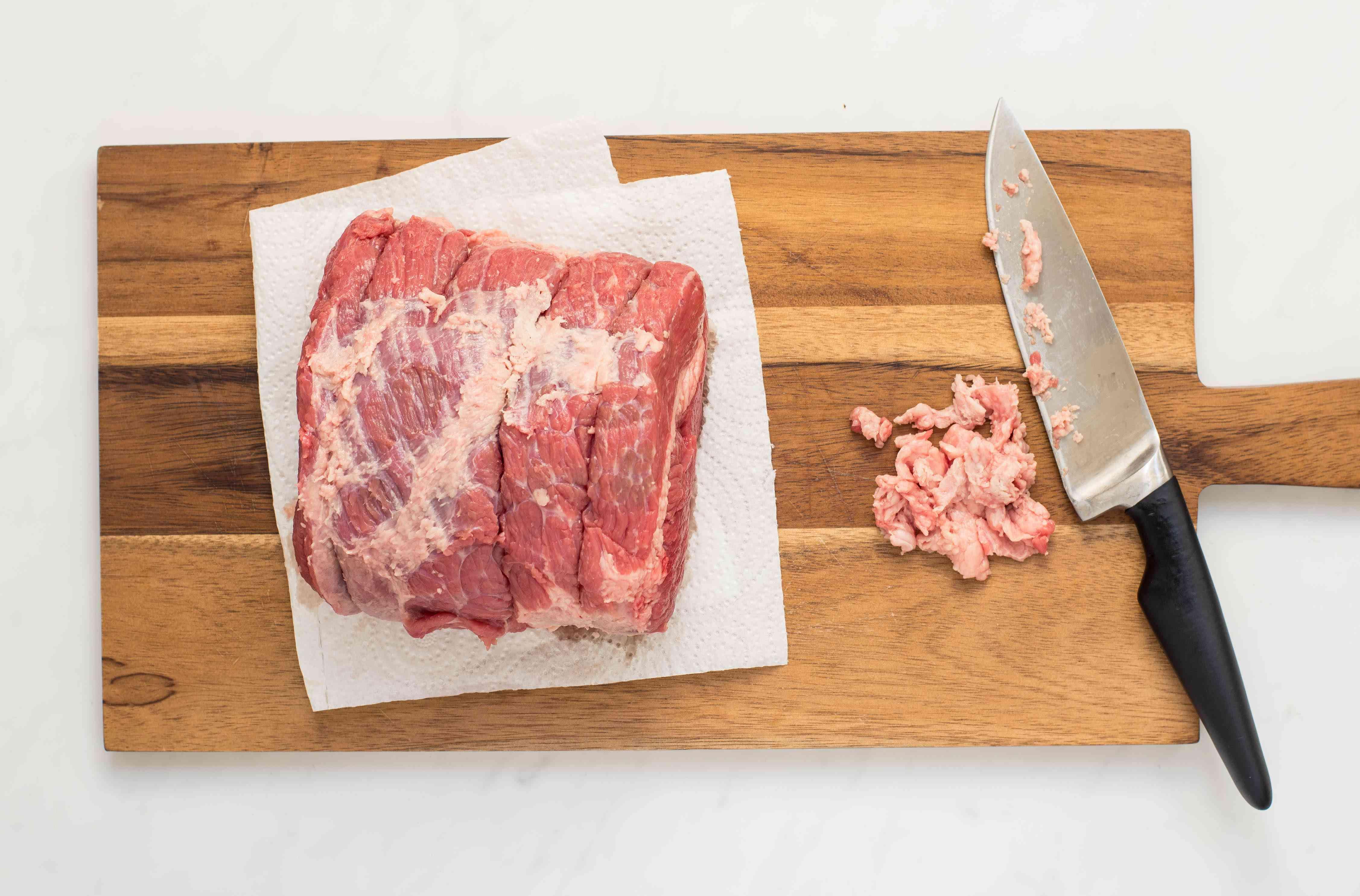 Pat dry and Cut roast