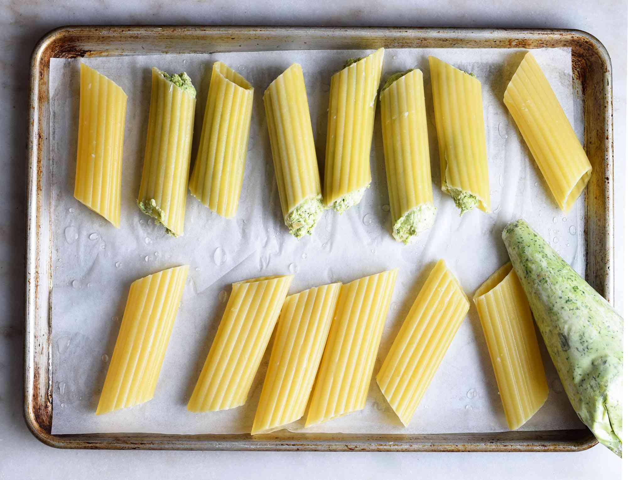 manicotti noodles filled with chicken filling